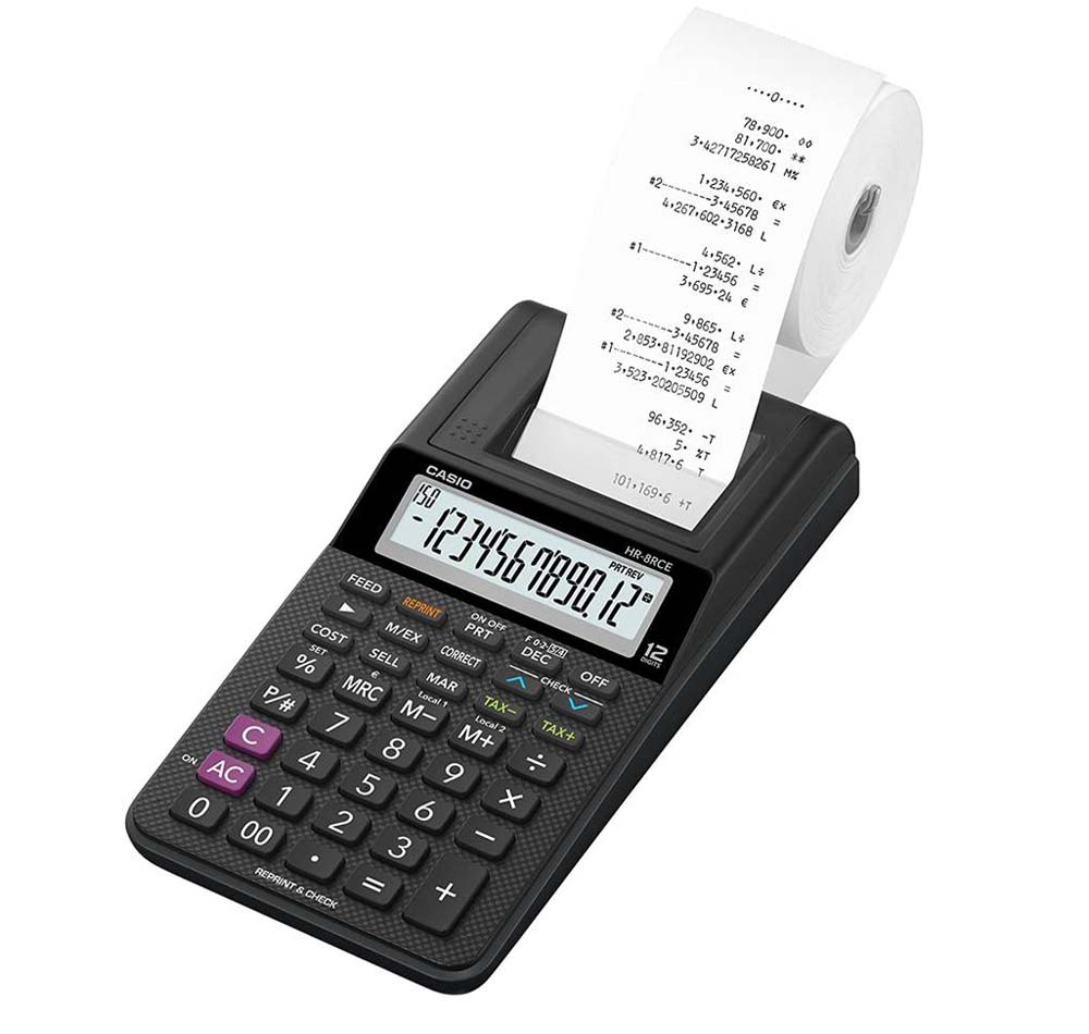 Calculadora con impresora Casio HR-8RCE-BK